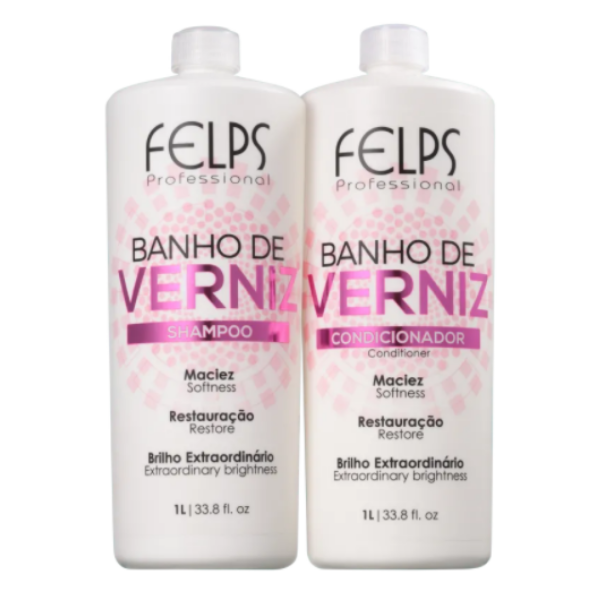 Felps, Banho de Verniz Kit Duo Shine (Shampoo + Conditioner), 2x1L